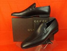 NIB GUCCI CORK BLACK LEATHER SCRIPT LOGO DRESS LOAFERS 13 14  $680 #278958 ITALY