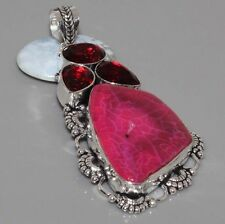 """E2700 ANTIQUE STYLE Agate Geode Druzy & 925 Silver Overlay Pendant 3"""" Jewellery"""