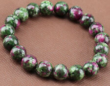 10mm Natural Green Ruby In Zoisite Round Gemstone Stretchy Bracelet 7.5''