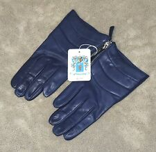 Portolano Women's Silk Lined Leather Gloves 7.5 Royal Blue Navy 2BF9679