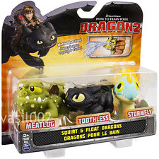 HOW TO TRAIN YOUR DRAGON 2 - BATH TIME SQUIRT & FLOAT DRAGONS 3-PACK BNIP