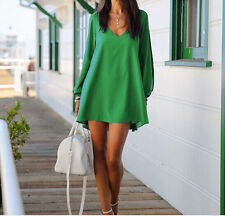 Green Sexy Summer Women Casual Chiffon Party A-line Cocktail Short Mini Dress XL