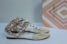 New sz 6.5 / 36.5 Valentino Native Leather Stud Rockstud Ankle Sandal Flat Shoes