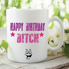Adult Offensive Humour Funny Mug Novelty Joke Happy Birthday Bitch Cup WSDMUG172