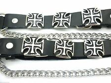 Cross Black Leather Biker Western Boot Straps W Chain Buckle Women's Men's PAIR
