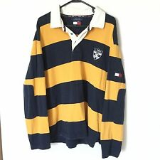 VTG Tommy Hilfiger Men's Yellow / Blue Striped Collar Polo Shirt Rugby Size XL