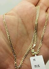 "14k Solid Yellow Gold Cuban Curb Link Necklace Chain 20"" 2.6mm"