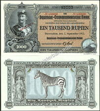 GERMAN EAST AFRICA 1000 RUPIEN KAISER WILHELM 2-SIDED SPECIMEN FANTASY ART NOTE!