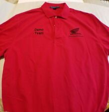Honda Motorcycle Embroidered Polo 3 Button Red Shirt  L Free shipping Demo team