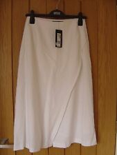 M & S Collection White Lined Long Skirt Size 8 NEW RRP £19.50 (Ref Z) Ex Con