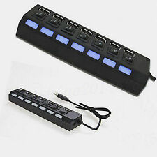 7-Port USB 2.0 Black Hub with High Speed Adapter ON/OFF Switch for Laptop / PC G