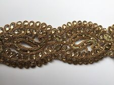 ATTRACTIVE INDIAN ANTIQUE GOLD CUTWORK CRYSTALS PAISLEYS LACE/TRIM-Sold By METER