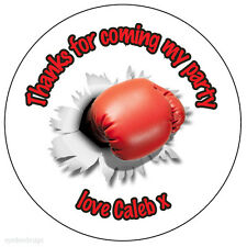 Personalised Boxing Glove 37mm Round Stickers Party Thank You Seals -ref 201