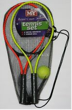 2 Player metal tennis racket bat set & ball. Outdoor sport gift idea