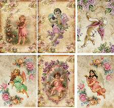 Vintage inspired Angel note cards tags ATC altered artset of 6
