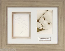 New Baby Gift Soft Clay Dough Hand print Footprint Kit Oak Effect 3D Box Frame