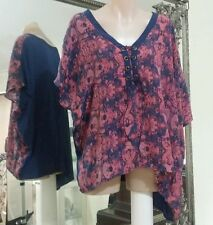 Lucette Blouse.SzM.Silk front. Rayon back. Leather lacing. Asymmetric. As new.