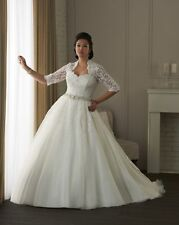 Half sleeves Plus size Wedding Dress bridal gown size 16 18 20 22 24 26 28++++++