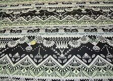 STRETCH COTTON OTTOMAN RIB-WOVEN ETHNIC TAPESTRY -DRESS FABRIC-FREE P&P