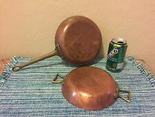"2-Antique Copper Pans w/Brass Handles 15""L X 8""D X 1.5""H ~10""L X 7.25""D X 1.5""H"