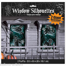 Gothic Halloween DEAD END CEMETERY Graveyard Party Window Silhouette Decoration