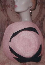 PARIS LABEL 1948 PINK Wide Saucer Hat w Black Velvet,BLANCHE SIMONE,DIOR Era