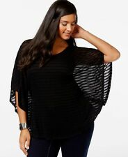 N/W-Defect (D-306) INC Women Batwing Round Neck Striped Knit Top Black Size 1X