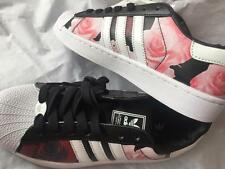 Adidas Superstar Black with pink roses sneakers shoes US 7.5 UK 6 EUR 39 1/3