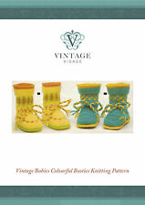 Vintage cute, sweet bright baby bootees knitting pattern-free UK postage