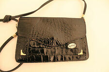 Ladies Vintage 1980's Black Moc Croc Faux Leather  Across the Body/ Shoulder Bag