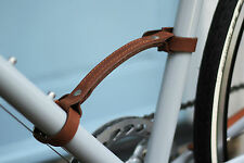 Dark Brown Leather Carry Handle - Temple Cycles - portaging strap bike bicycle