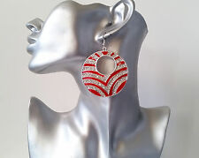 Beautiful 6cm silver tone, RED & diamante / crystal  disc drop earrings