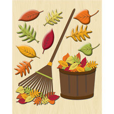 Raking Leaves Fall Autumn Halloween Leaf Pile K&Company 3D Sticker