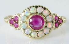 STUNNING ENGLISH 9K GOLD RUBY & AUS OPAL CLUSTER RING