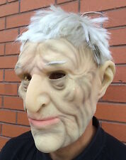 Realistic Old Man Mask & Glasses Latex Disguise Halloween Fancy Dress Grandad
