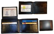 Lot of 3 New man's skinny leather Bi-fold wallet 6 bank card holder 2 billfolds