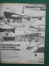 5/1973 PUB TRIPLEX SAFETY GLASS AVIATION CONCORDE BOEING 747 BOAC HARRIER AD