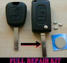 PEUGEOT 2 BUTTON FLIP REMOTE KEY FOB CASE 107 207 307 206 306 406 REPAIR KIT WG