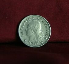 1937 Argentina 5 Centavos World Coin Liberty Cap Head South America five cents