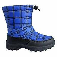 Cold Front Little Boys' Fun Pac Drawstring Winter Boot PLAID Blue Black sz 13