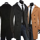 Mens Winter Wool Long Coat Double Breasted Trench Coat Jacket Peacoat Overcoat
