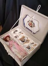 Porcelain Doll Pink Dress w Retired Collectible Child's Ranger Tea Set Gift Box