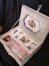 Porcelain Doll Pink Dress w Retired Collectible Child's Ranger Tea Set Gift Box