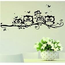 Kids Vinyl Art Cartoon Owl Butterfly Wall Sticker Decor Home Decal Black D10
