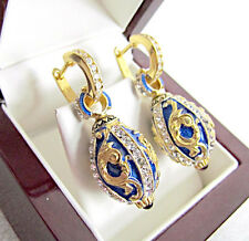 STUNNING HANDMADE OF SOLID STERLING SILVER 925 AND 24K GOLD EARRINGS WITH ENAMEL