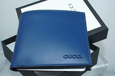 Gucci Men's Blue Wallet Bi-Fold Signature GG Logo Vitello Sport Card Case NWT