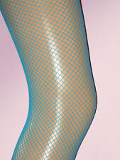 Bright Neon Turquoise Fishnet Tights. Ladies 10-14. NEW dancer blue