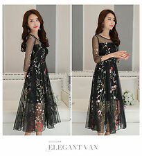 2017 Lady Mesh Embroidery Floral Evening Party Wedding Cocktail Dress Ball Gown