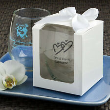 100 !!!WITH BOXES!! Personalized 9 Oz. Stemless Wine Glass Wedding Favor Lot