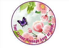 Butterfly and flowers mum sister birthday personalised round cake topper icing